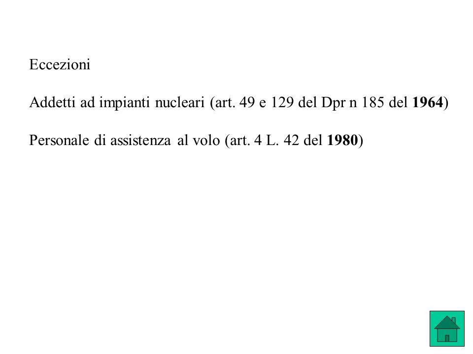 Eccezioni Addetti ad impianti nucleari (art. 49 e 129 del Dpr n 185 del 1964) Personale di assistenza al volo (art. 4 L. 42 del 1980)