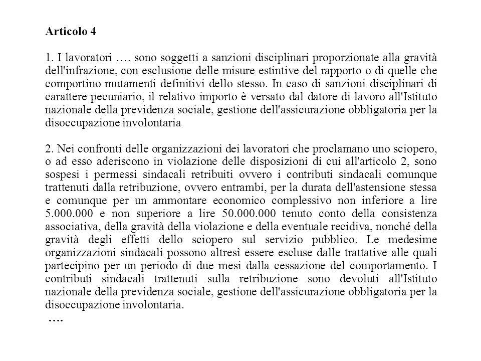 Articolo 4 1. I lavoratori …. sono soggetti a sanzioni disciplinari proporzionate alla gravità dell'infrazione, con esclusione delle misure estintive