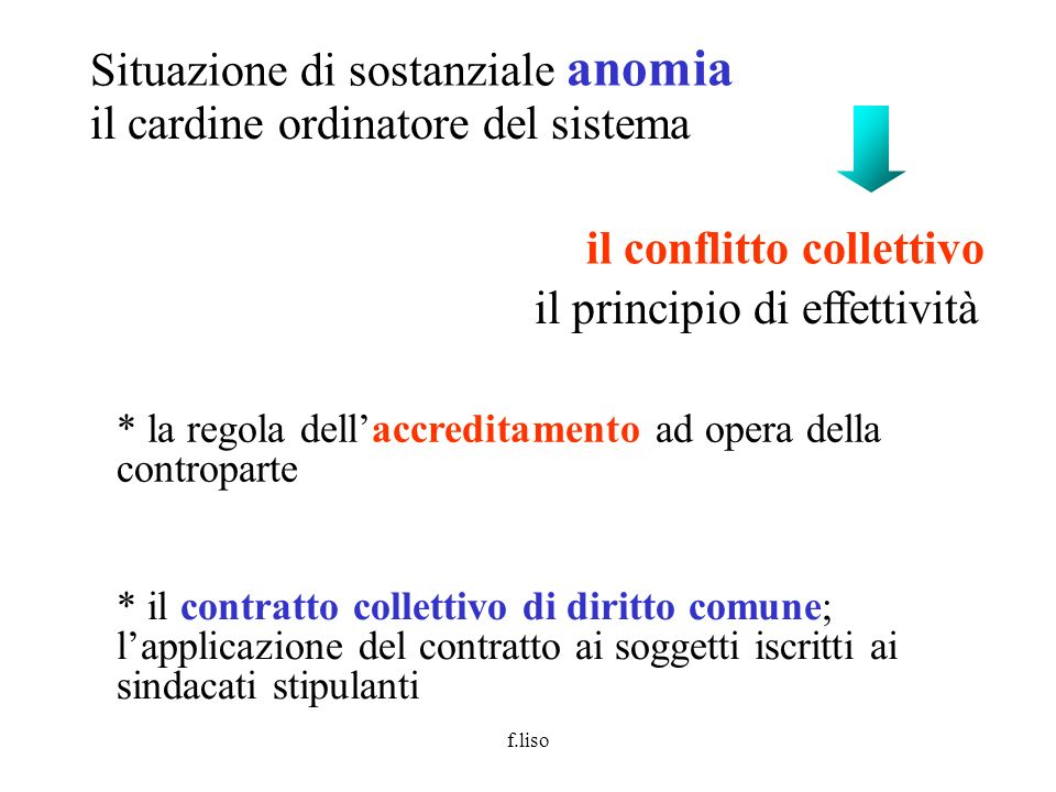 f.liso il cardine ordinatore del sistema il conflitto collettivo Situazione di sostanziale anomia il principio di effettività * la regola dellaccredit
