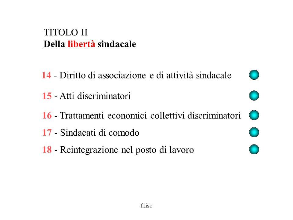 f.liso 14 - Diritto di associazione e di attività sindacale 15 - Atti discriminatori 16 - Trattamenti economici collettivi discriminatori 17 - Sindaca