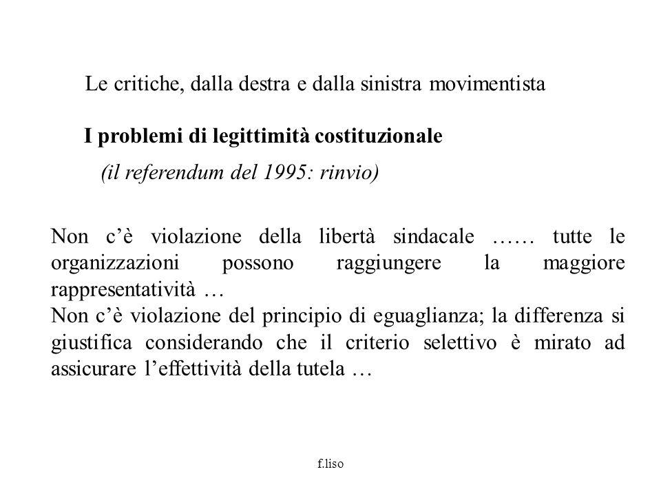 f.liso I problemi di legittimità costituzionale (il referendum del 1995: rinvio) Le critiche, dalla destra e dalla sinistra movimentista Non cè violaz
