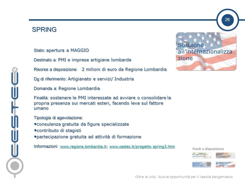 26 Oltre la crisi. Nuove opportunità per il tessile bergamasco SPRING Stato: apertura a MAGGIO Destinato a: PMI e imprese artigiane lombarde Risorse a