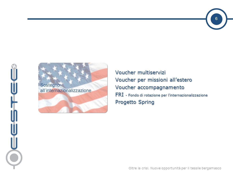 6 Oltre la crisi. Nuove opportunità per il tessile bergamasco Voucher multiservizi Voucher per missioni allestero Voucher accompagnamento FRI - Fondo