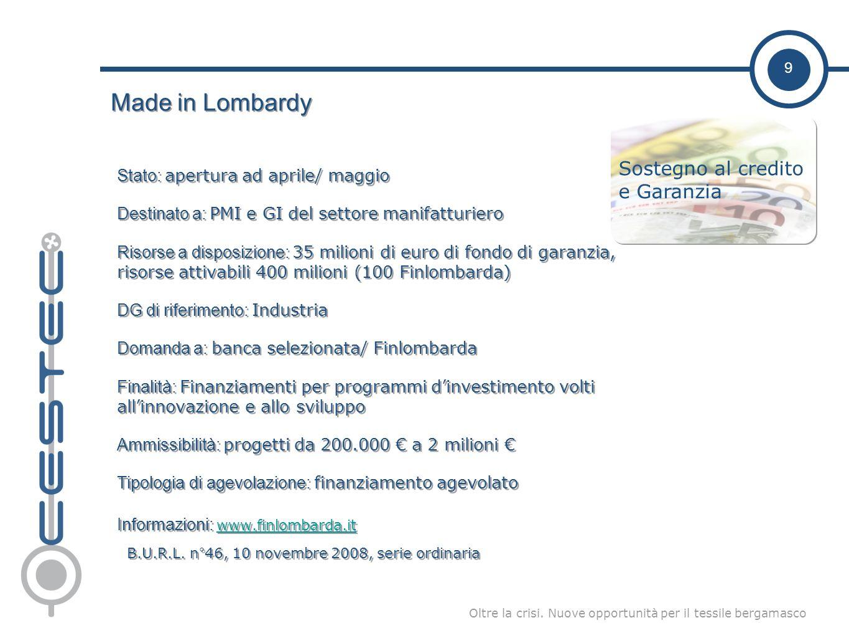 9 Oltre la crisi. Nuove opportunità per il tessile bergamasco Made in Lombardy Stato: apertura ad aprile/ maggio Destinato a: PMI e GI del settore man