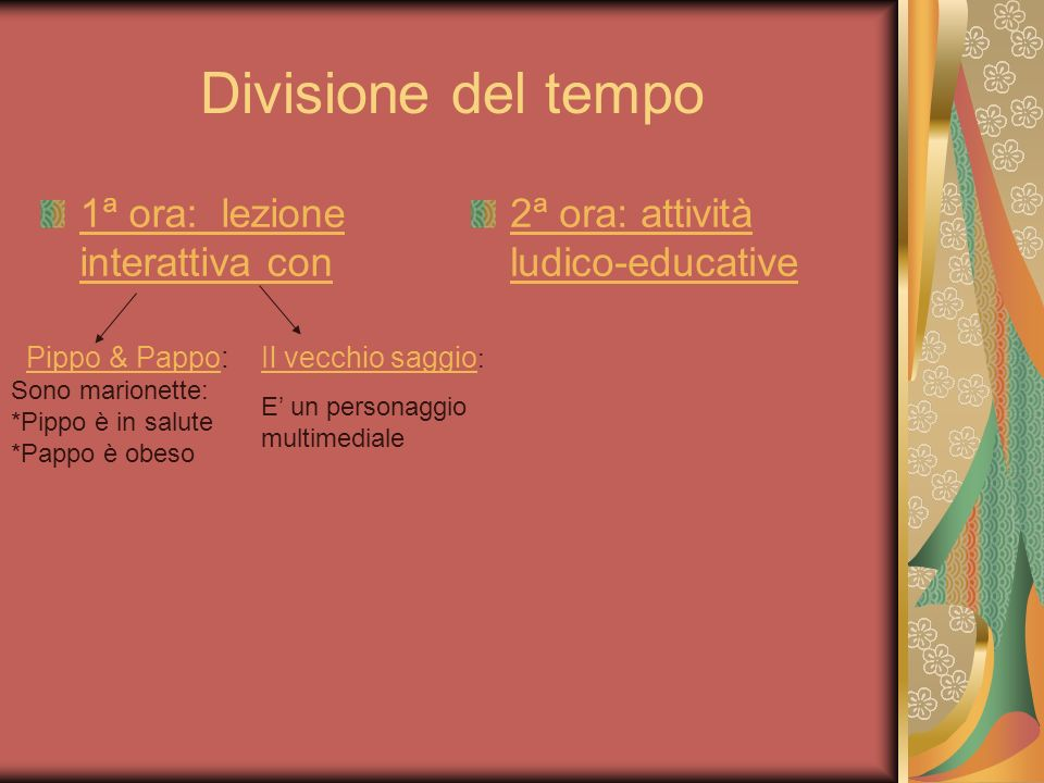 Divisione del tempo 1ª ora: lezione interattiva con 2ª ora: attività ludico-educative Pippo & PappoPippo & Pappo: Sono marionette: *Pippo è in salute