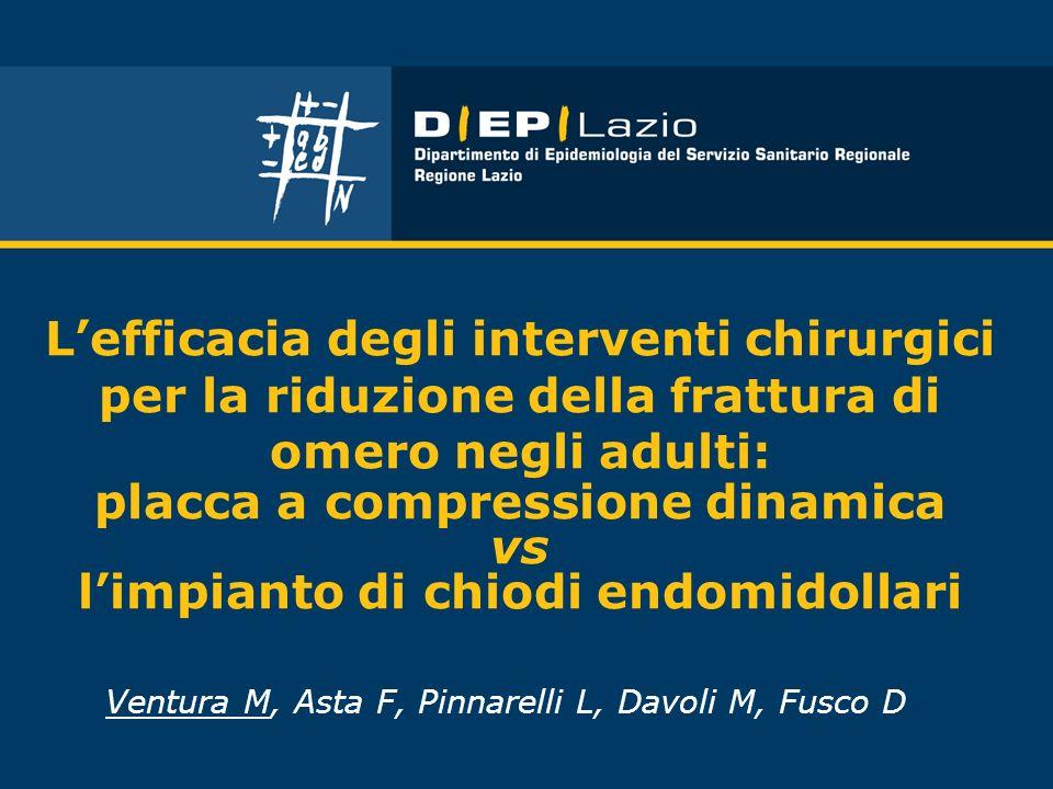 Lefficacia degli interventi chirurgici per la riduzione della frattura di omero negli adulti: placca a compressione dinamica vs limpianto di chiodi en