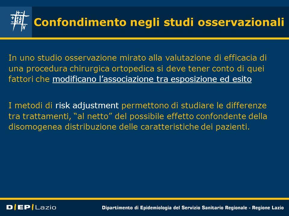 Confondimento negli studi osservazionali In uno studio osservazione mirato alla valutazione di efficacia di una procedura chirurgica ortopedica si dev