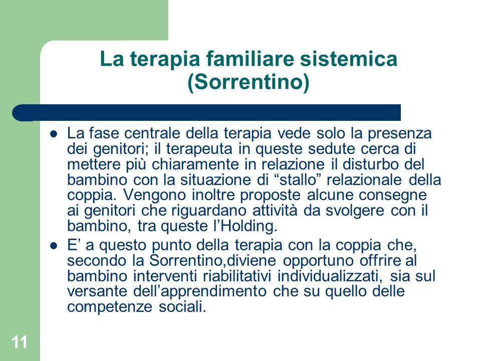 11 La terapia familiare sistemica (Sorrentino) La fase centrale della terapia vede solo la presenza dei genitori; il terapeuta in queste sedute cerca
