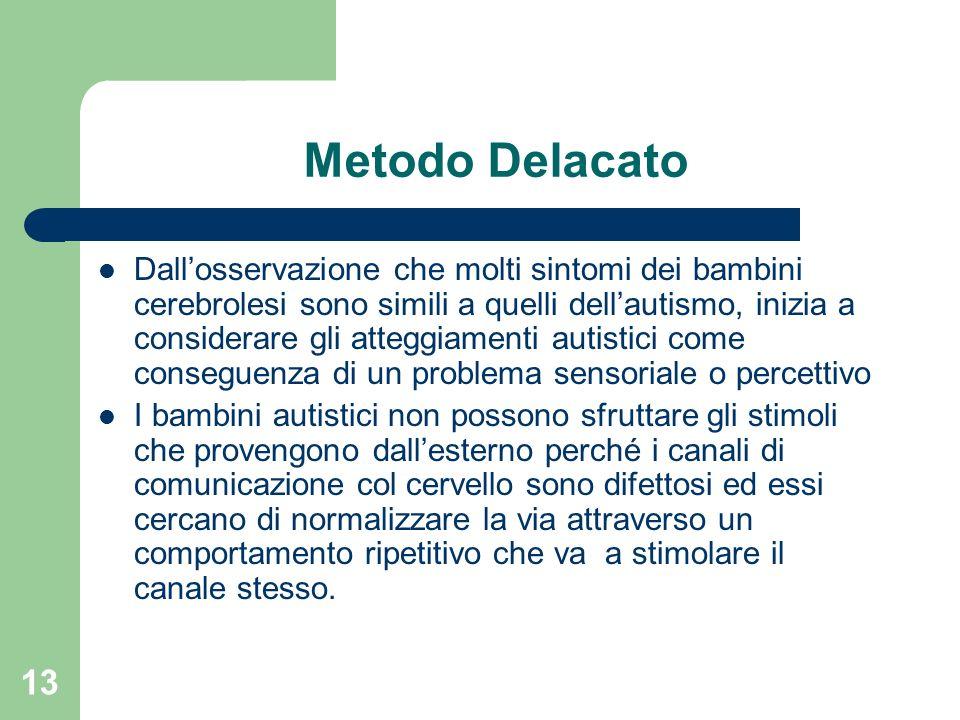 13 Metodo Delacato Dallosservazione che molti sintomi dei bambini cerebrolesi sono simili a quelli dellautismo, inizia a considerare gli atteggiamenti