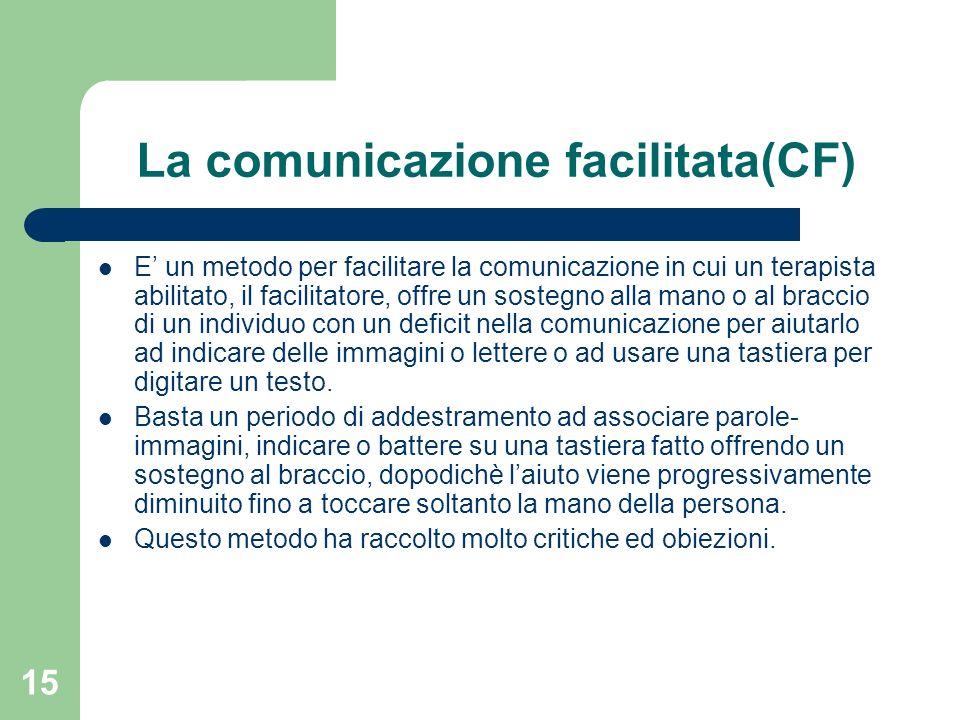 15 La comunicazione facilitata(CF) E un metodo per facilitare la comunicazione in cui un terapista abilitato, il facilitatore, offre un sostegno alla