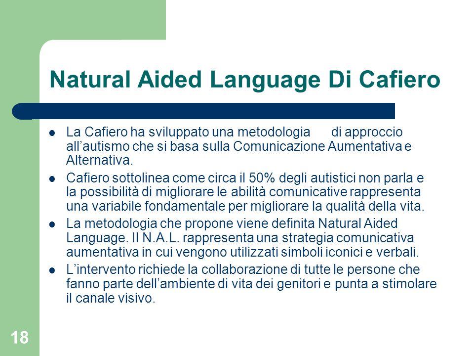 18 Natural Aided Language Di Cafiero La Cafiero ha sviluppato una metodologia di approccio allautismo che si basa sulla Comunicazione Aumentativa e Al