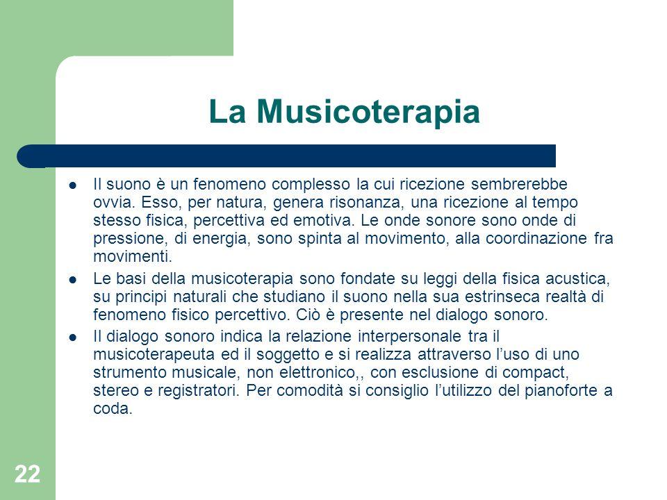 22 La Musicoterapia Il suono è un fenomeno complesso la cui ricezione sembrerebbe ovvia. Esso, per natura, genera risonanza, una ricezione al tempo st