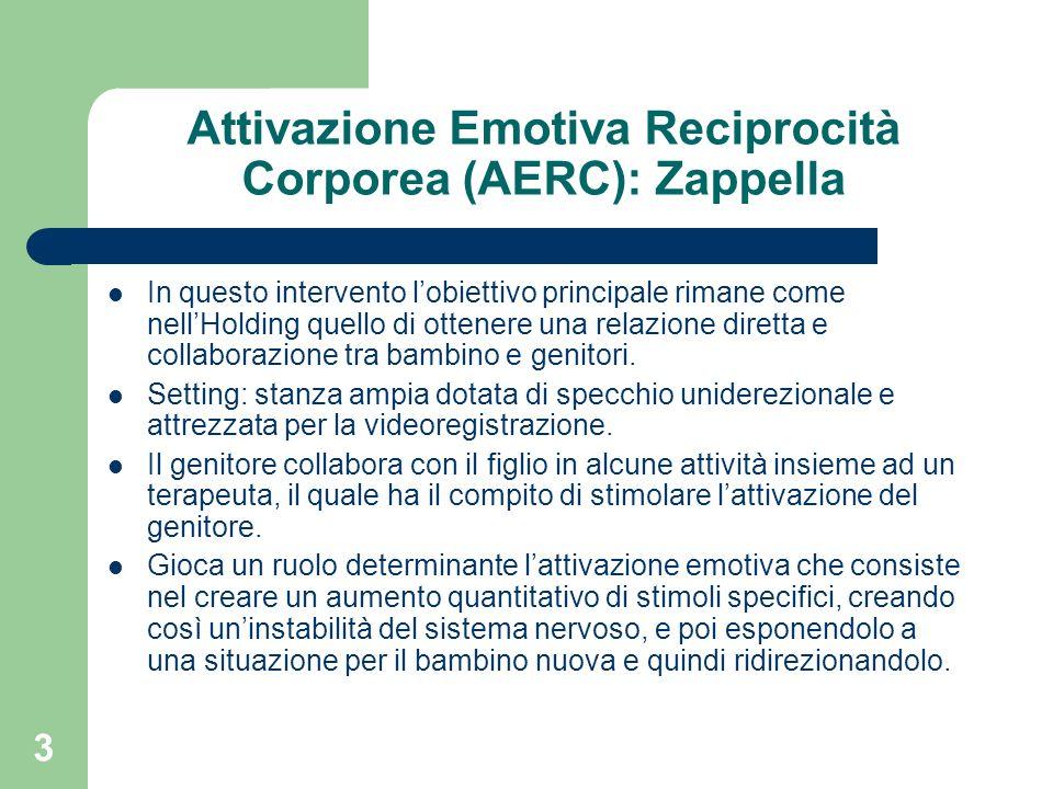 3 Attivazione Emotiva Reciprocità Corporea (AERC): Zappella In questo intervento lobiettivo principale rimane come nellHolding quello di ottenere una