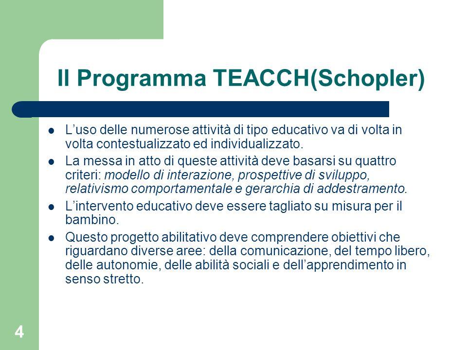 5 Il Programma TEACCH(Schopler) La conduzione del programma è affidata a genitori e insegnanti, che condividono le stesse strategie ed operano in stretta collaborazione.