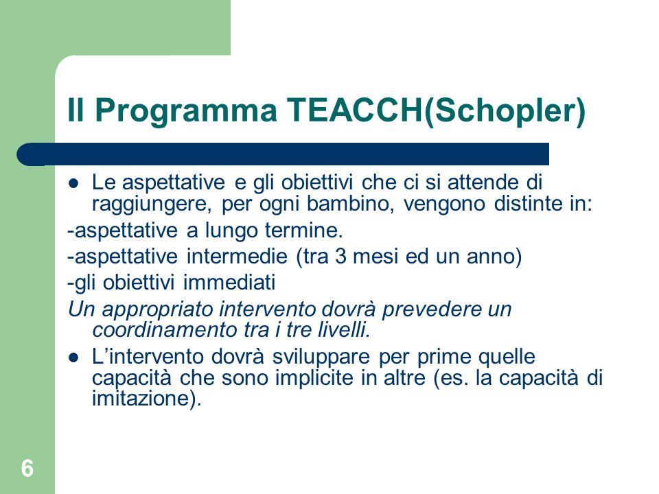 6 Il Programma TEACCH(Schopler) Le aspettative e gli obiettivi che ci si attende di raggiungere, per ogni bambino, vengono distinte in: -aspettative a