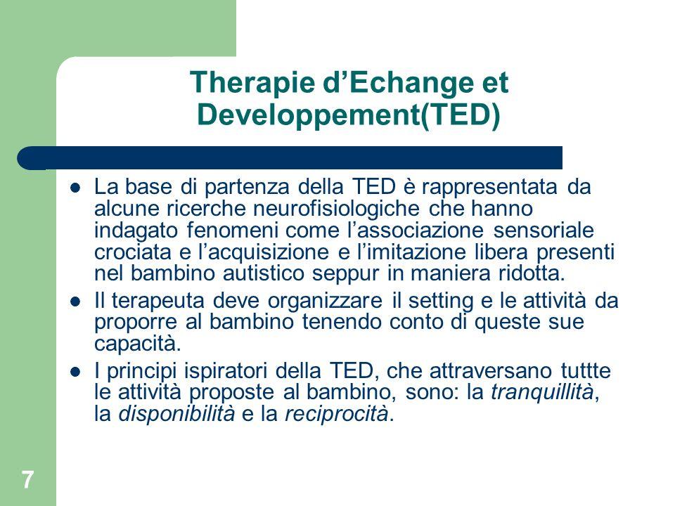 7 Therapie dEchange et Developpement(TED) La base di partenza della TED è rappresentata da alcune ricerche neurofisiologiche che hanno indagato fenome