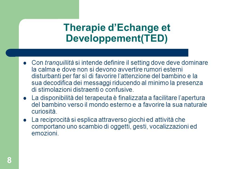 8 Therapie dEchange et Developpement(TED) Con tranquillità si intende definire il setting dove deve dominare la calma e dove non si devono avvertire r