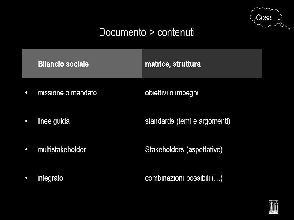 Documento > contenuti Bilancio socialematrice, struttura missione o mandatoobiettivi o impegni linee guidastandards (temi e argomenti) multistakeholderStakeholders (aspettative) integratocombinazioni possibili (…) Cosa