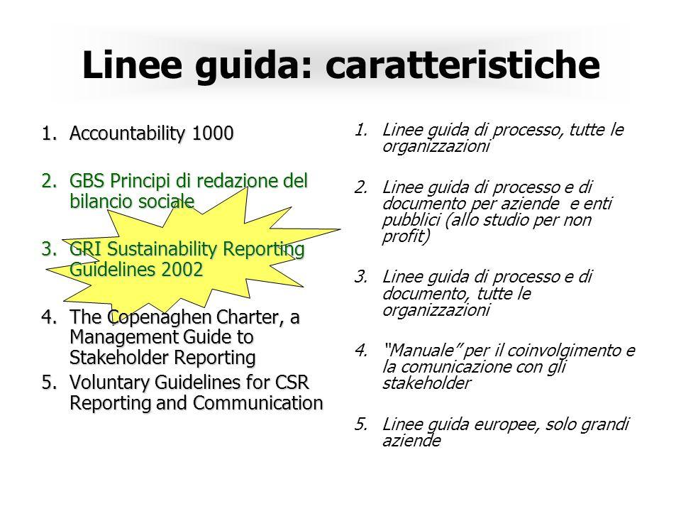 Linee guida: caratteristiche 1.Accountability 1000 2.GBS Principi di redazione del bilancio sociale 3.GRI Sustainability Reporting Guidelines 2002 4.The Copenaghen Charter, a Management Guide to Stakeholder Reporting 5.Voluntary Guidelines for CSR Reporting and Communication 1.Linee guida di processo, tutte le organizzazioni 2.Linee guida di processo e di documento per aziende e enti pubblici (allo studio per non profit) 3.Linee guida di processo e di documento, tutte le organizzazioni 4.Manuale per il coinvolgimento e la comunicazione con gli stakeholder 5.Linee guida europee, solo grandi aziende