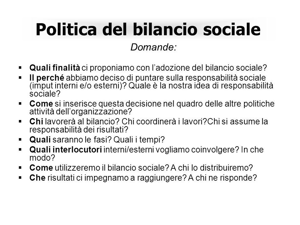 Politica del bilancio sociale Domande: Quali finalità ci proponiamo con ladozione del bilancio sociale.