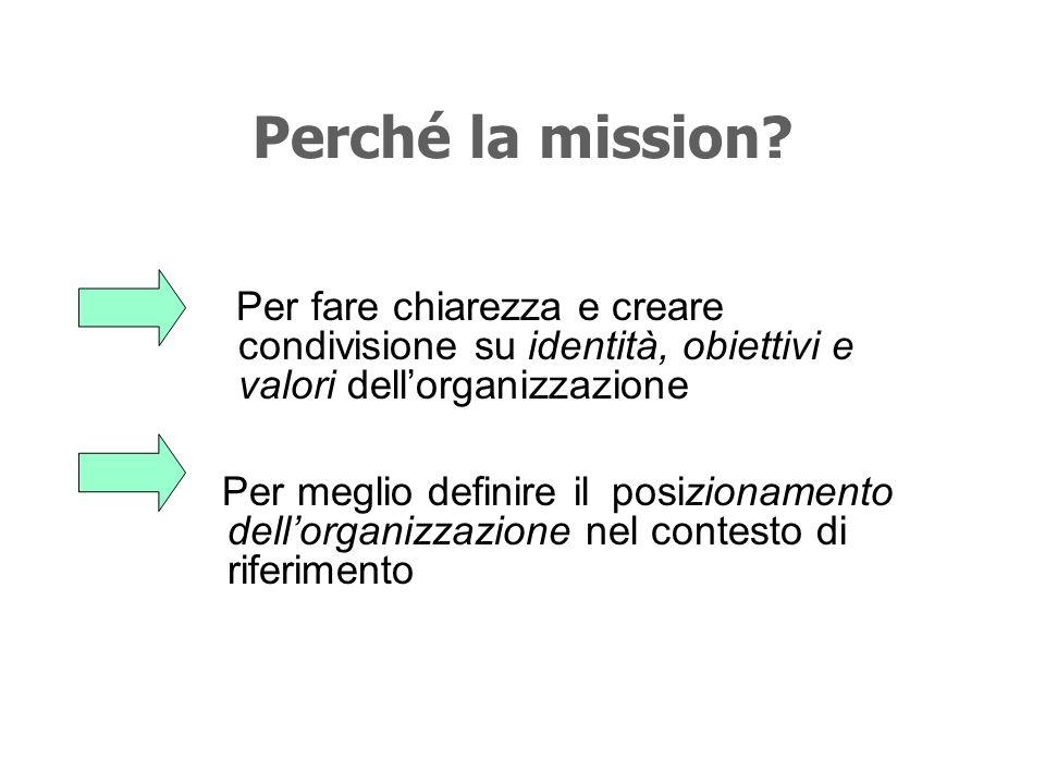 La mission una (di solito breve) dichiarazione che esprime la ragione dessere di unorganizzazione