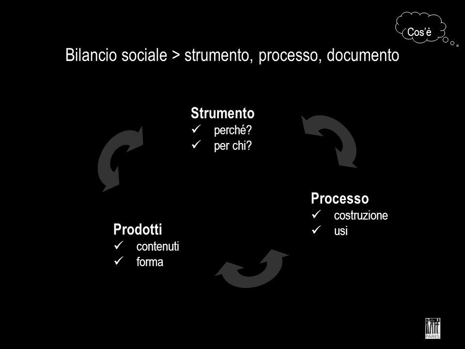 Bilancio sociale > strumento, processo, documento Strumento funzione utilità Processo costruzione uso Prodotto forma contenuto Cosè