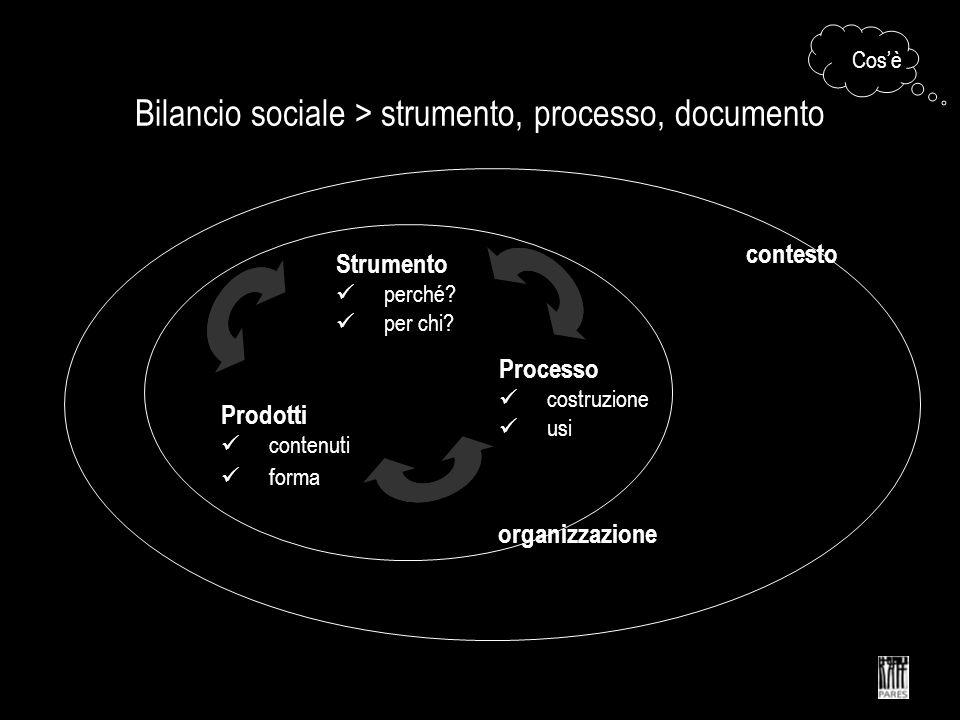 Bilancio sociale > strumento, processo, documento Strumento perché? per chi? Processo costruzione usi Prodotti contenuti forma Cosè