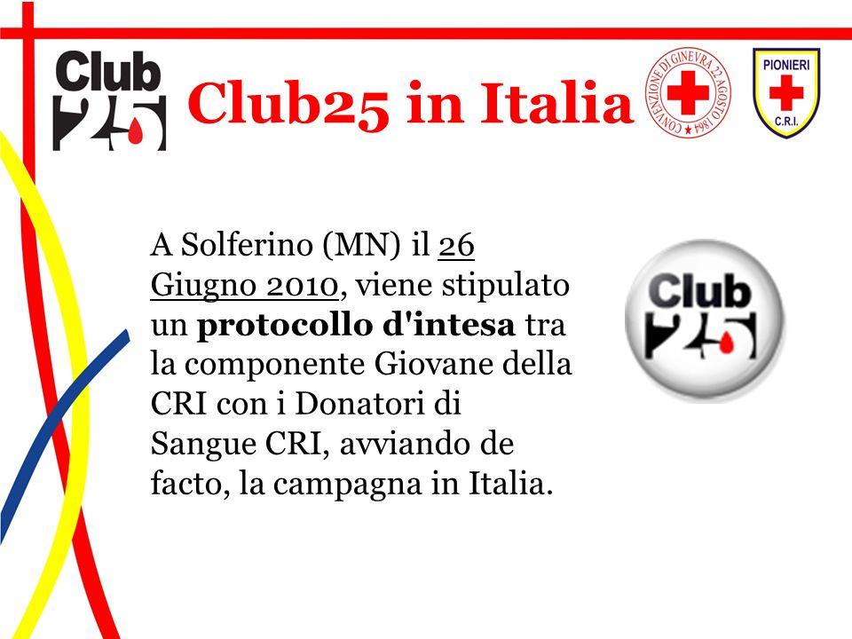 A Solferino (MN) il 26 Giugno 2010, viene stipulato un protocollo d'intesa tra la componente Giovane della CRI con i Donatori di Sangue CRI, avviando
