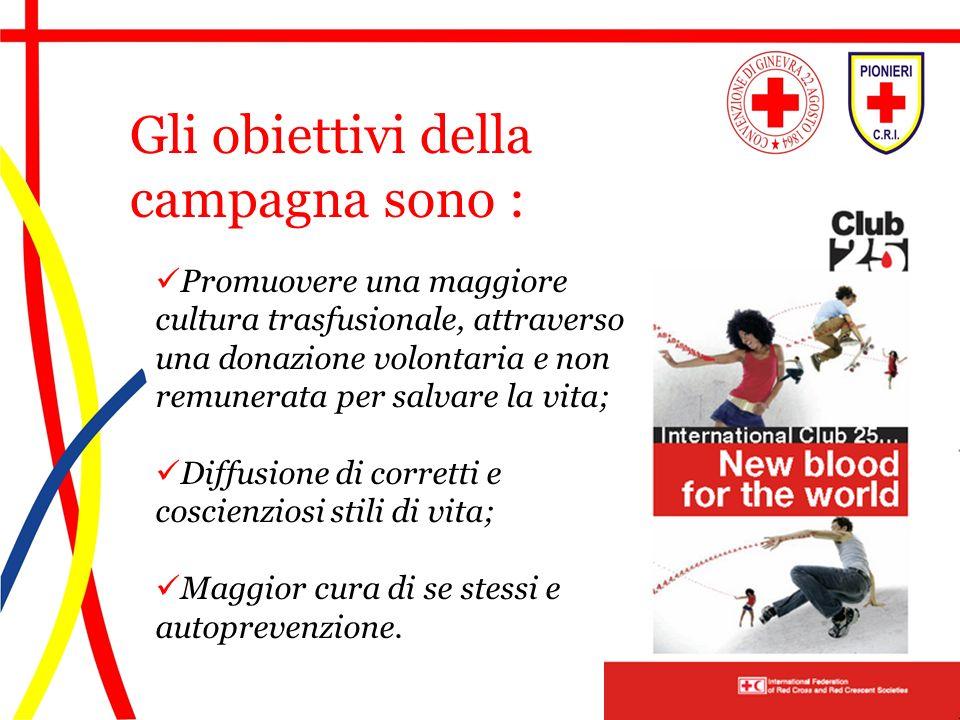 Promuovere una maggiore cultura trasfusionale, attraverso una donazione volontaria e non remunerata per salvare la vita; Diffusione di corretti e cosc