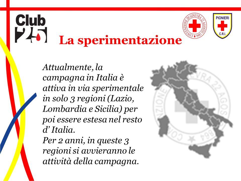 Attualmente, la campagna in Italia è attiva in via sperimentale in solo 3 regioni (Lazio, Lombardia e Sicilia) per poi essere estesa nel resto d Itali