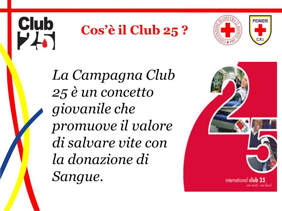 La Campagna Club 25 è un concetto giovanile che promuove il valore di salvare vite con la donazione di Sangue. Cosè il Club 25 ?