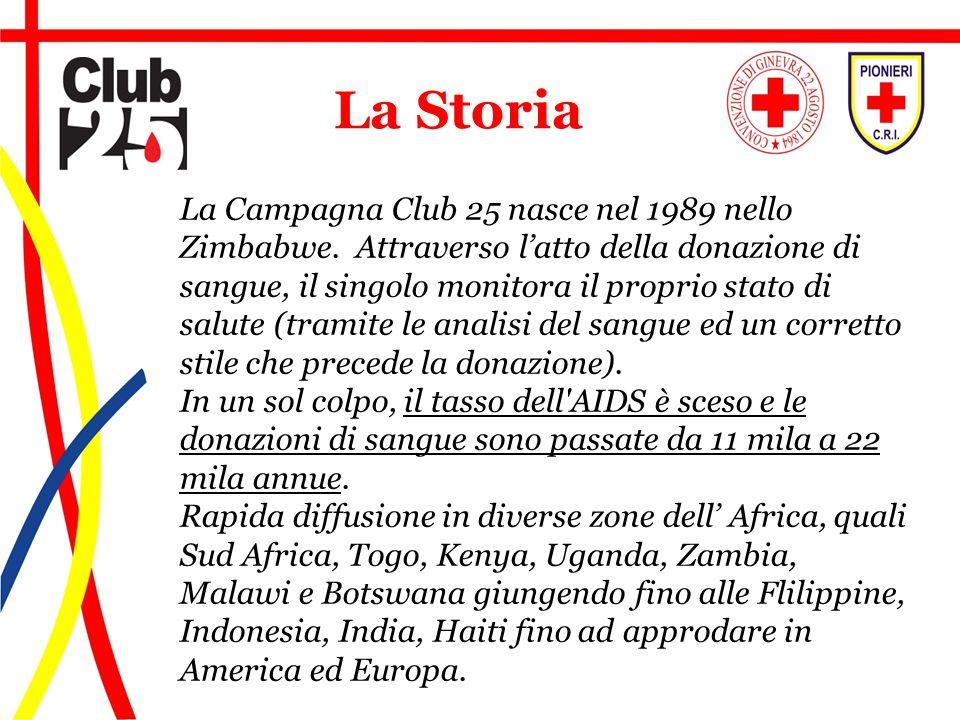 La Campagna Club 25 nasce nel 1989 nello Zimbabwe. Attraverso latto della donazione di sangue, il singolo monitora il proprio stato di salute (tramite