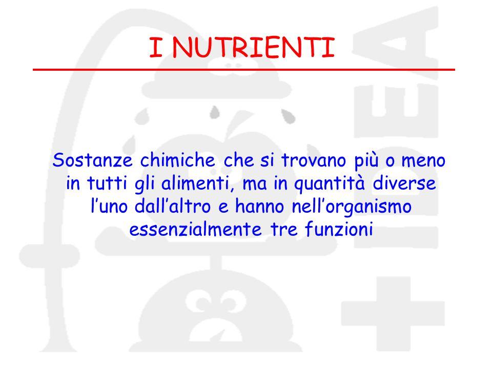 I NUTRIENTI Sostanze chimiche che si trovano più o meno in tutti gli alimenti, ma in quantità diverse luno dallaltro e hanno nellorganismo essenzialme