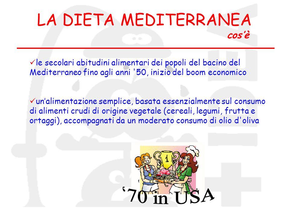 le secolari abitudini alimentari dei popoli del bacino del Mediterraneo fino agli anni '50, inizio del boom economico unalimentazione semplice, basata