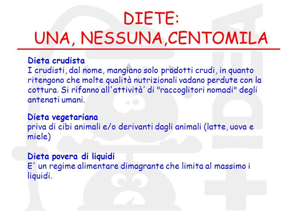 DIETE: UNA, NESSUNA,CENTOMILA Dieta crudista I crudisti, dal nome, mangiano solo prodotti crudi, in quanto ritengono che molte qualità nutrizionali va