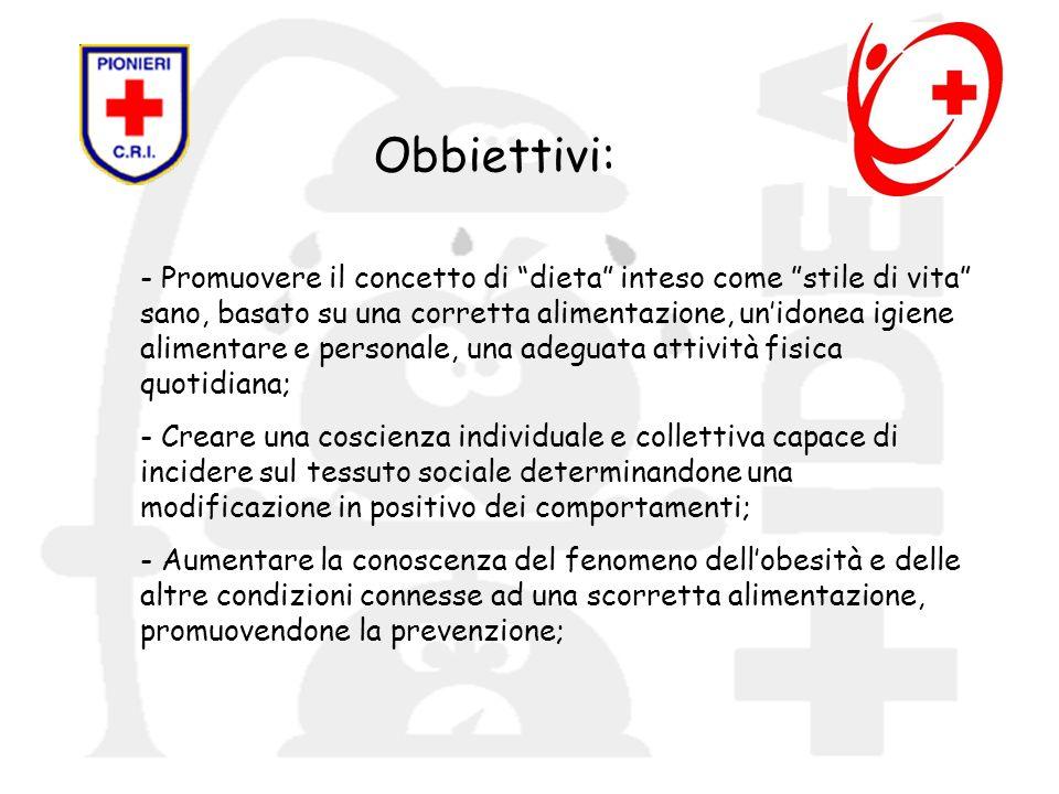 Obbiettivi: - Promuovere il concetto di dieta inteso come stile di vita sano, basato su una corretta alimentazione, unidonea igiene alimentare e perso