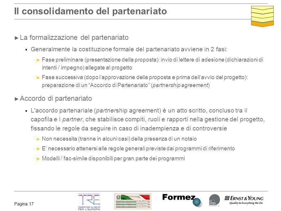 Pagina 17 Il consolidamento del partenariato La formalizzazione del partenariato Generalmente la costituzione formale del partenariato avviene in 2 fa