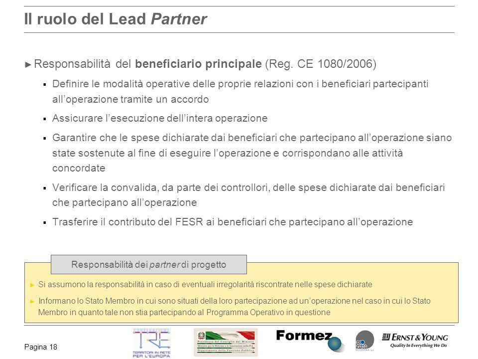 Pagina 18 Il ruolo del Lead Partner Responsabilità del beneficiario principale (Reg. CE 1080/2006) Definire le modalità operative delle proprie relazi