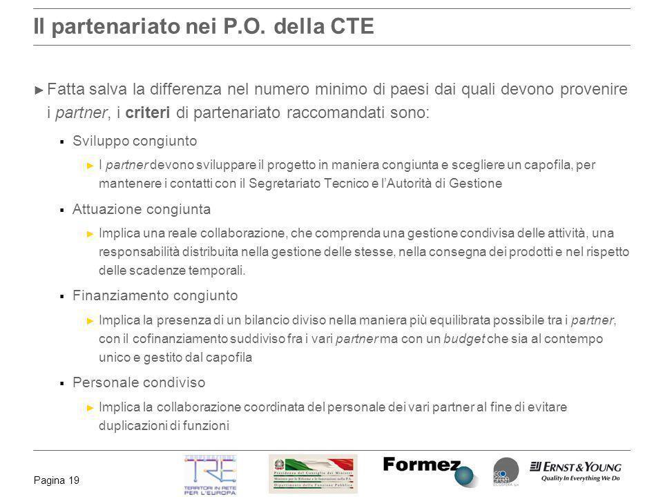 Pagina 19 Il partenariato nei P.O. della CTE Fatta salva la differenza nel numero minimo di paesi dai quali devono provenire i partner, i criteri di p
