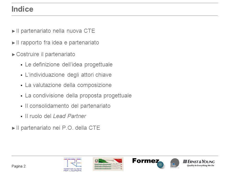Pagina 2 Indice Il partenariato nella nuova CTE Il rapporto fra idea e partenariato Costruire il partenariato Le definizione dellidea progettuale Lind