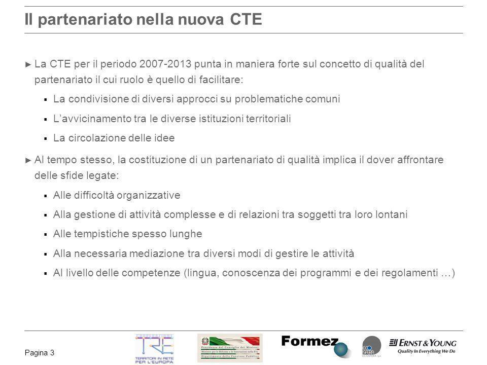 Pagina 3 Il partenariato nella nuova CTE La CTE per il periodo 2007-2013 punta in maniera forte sul concetto di qualità del partenariato il cui ruolo