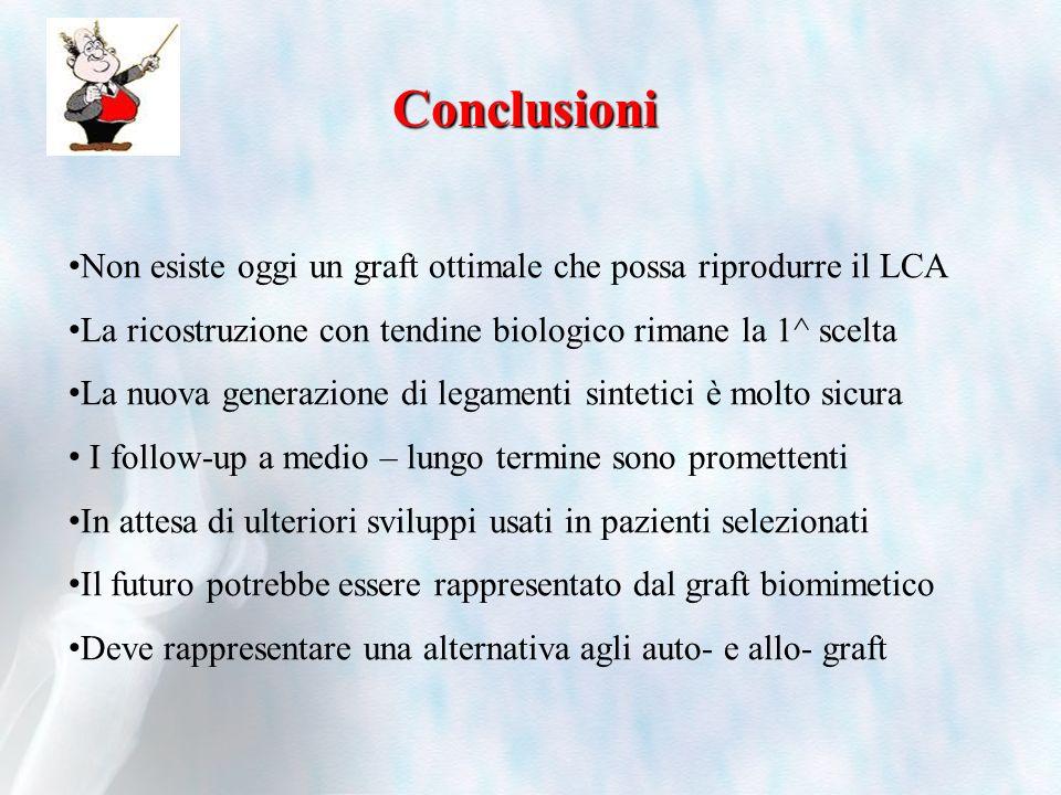 Non esiste oggi un graft ottimale che possa riprodurre il LCA La ricostruzione con tendine biologico rimane la 1^ scelta La nuova generazione di legam