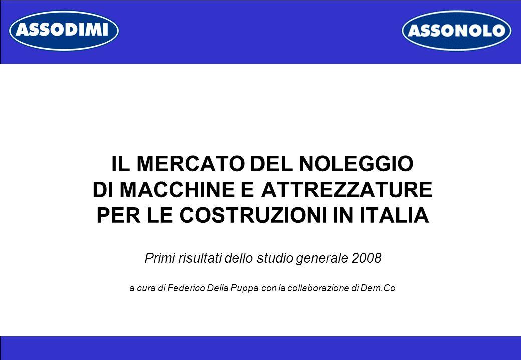 IL MERCATO DEL NOLEGGIO DI MACCHINE E ATTREZZATURE PER LE COSTRUZIONI IN ITALIA Primi risultati dello studio generale 2008 a cura di Federico Della Puppa con la collaborazione di Dem.Co