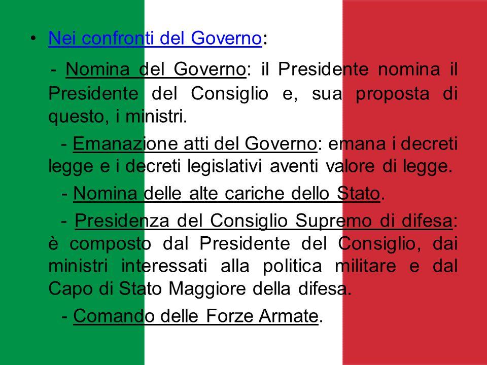 Nei confronti del Governo :Nei confronti del Governo - Nomina del Governo: il Presidente nomina il Presidente del Consiglio e, sua proposta di questo,