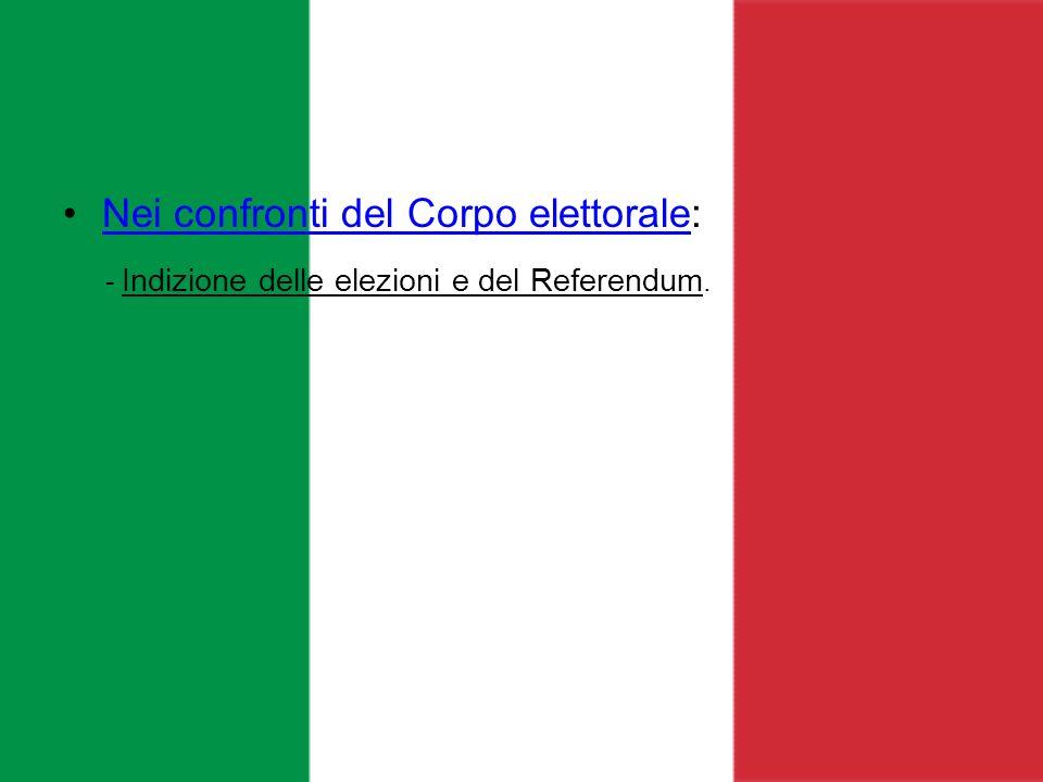Nei confronti del Corpo elettorale:Nei confronti del Corpo elettorale - Indizione delle elezioni e del Referendum.