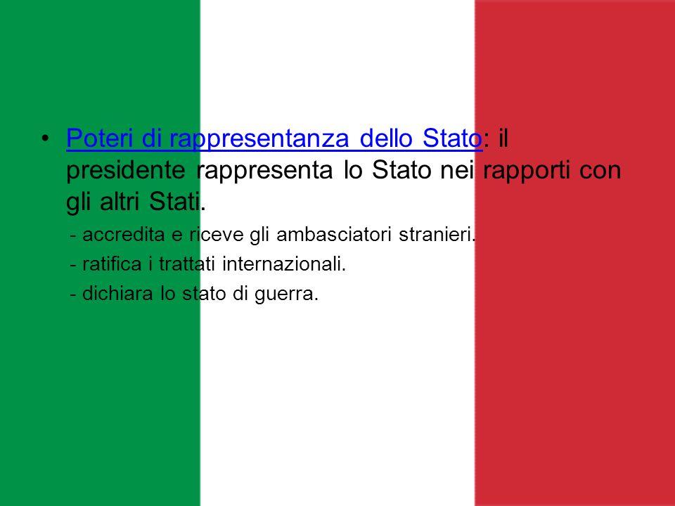 Poteri di rappresentanza dello Stato: il presidente rappresenta lo Stato nei rapporti con gli altri Stati.Poteri di rappresentanza dello Stato - accre