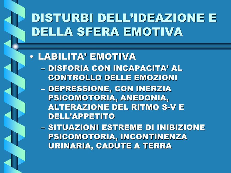 DISTURBI DELLIDEAZIONE E DELLA SFERA EMOTIVA LABILITA EMOTIVALABILITA EMOTIVA –DISFORIA CON INCAPACITA AL CONTROLLO DELLE EMOZIONI –DEPRESSIONE, CON I