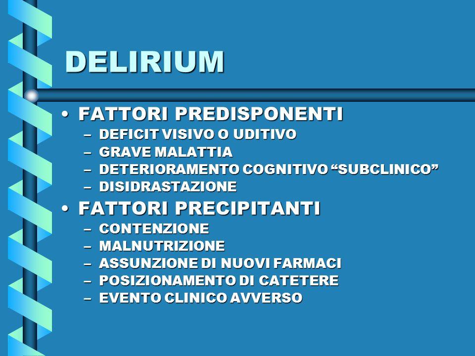 DELIRIUM FATTORI PREDISPONENTIFATTORI PREDISPONENTI –DEFICIT VISIVO O UDITIVO –GRAVE MALATTIA –DETERIORAMENTO COGNITIVO SUBCLINICO –DISIDRASTAZIONE FA