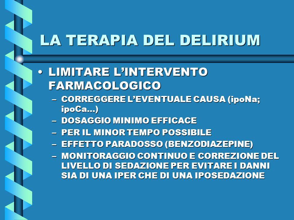 LA TERAPIA DEL DELIRIUM LIMITARE LINTERVENTO FARMACOLOGICOLIMITARE LINTERVENTO FARMACOLOGICO –CORREGGERE LEVENTUALE CAUSA (ipoNa; ipoCa…) –DOSAGGIO MI