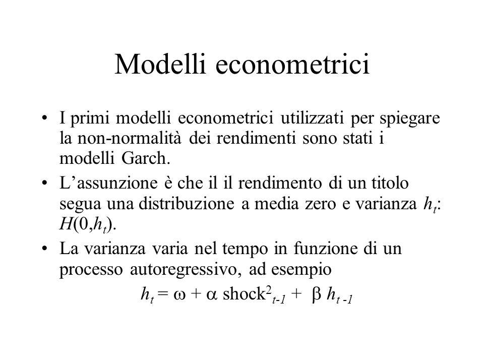 Modelli econometrici I primi modelli econometrici utilizzati per spiegare la non-normalità dei rendimenti sono stati i modelli Garch. Lassunzione è ch